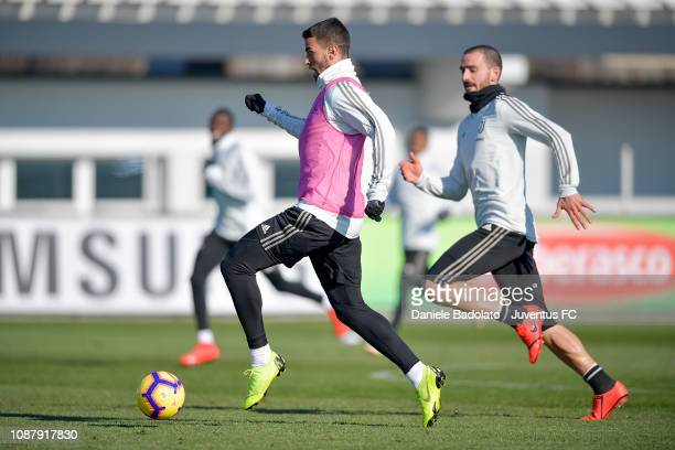 Juventus player Leonardo Spinazzola during a training session at JTC on January 24 2019 in Turin Italy