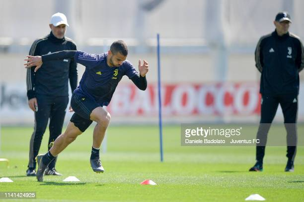 Juventus player Leonardo Spinazzola during the Champions League training session at JTC on April 09 2019 in Turin Italy