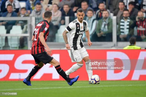Juventus player Leonardo Spinazzola during the Serie A match between Juventus and AC Milan on April 6 2019 in Turin Italy