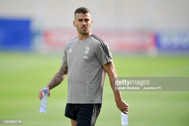 Juventus player Leonardo Spinazzola looks on during a training session at JTC on September 13 2018 in Turin Italy