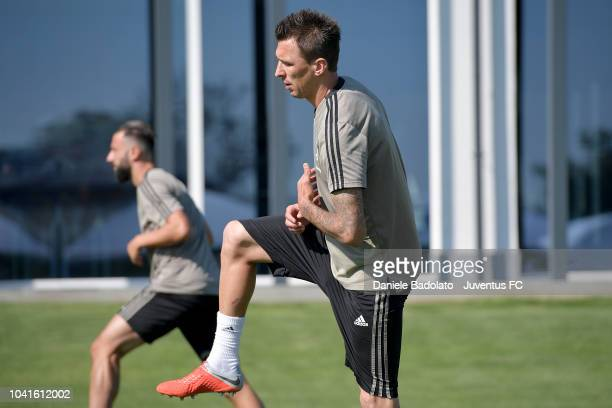 Juventus player Mario Mandzukic during a training session at JTC on September 27 2018 in Turin Italy