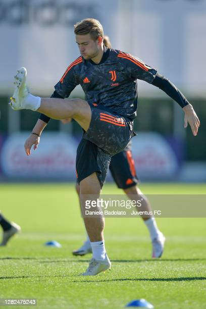 Juventus player Matthijs de Ligt during the UEFA Champions League training session at JTC on October 27 2020 in Turin Italy