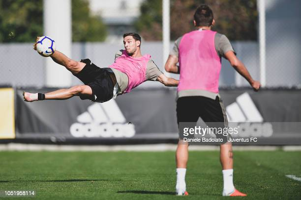 Juventus player Mattia De Sciglio during a training session at JTC on October 12 2018 in Turin Italy