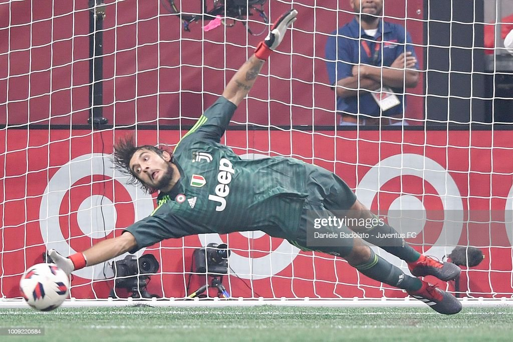 Juventus player Mattia Perin in action during the 2018 MLS All-Star Game: Juventus v MLS All-Stars at Mercedes-Benz Stadium on August 1, 2018 in Atlanta, Georgia.