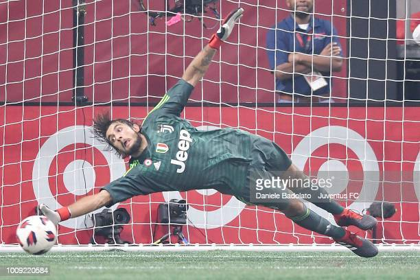Juventus player Mattia Perin in action during the 2018 MLS All-Star Game: Juventus v MLS All-Stars at Mercedes-Benz Stadium on August 1, 2018 in...
