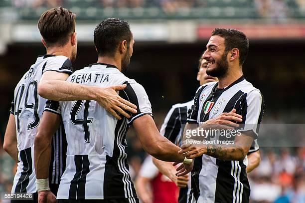 Juventus' player Medhi Benatia celebrates after scoring during the South China vs Juventus match of the AET International Challenge Cup on 30 July...
