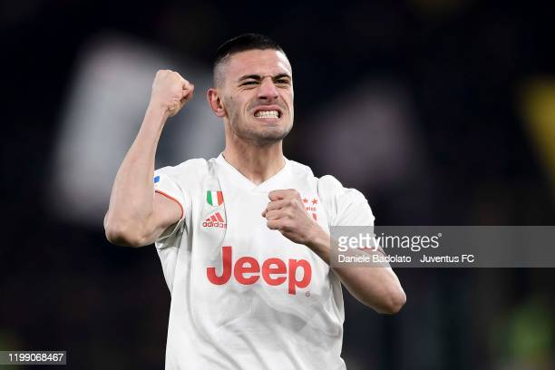 Juventus player Merih Demiral celebrates 01 goal during the Serie A match between AS Roma and Juventus at Stadio Olimpico on January 12 2020 in Rome...