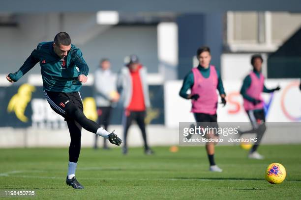 Juventus player Merih Demiral controls the ball during a training session at JTC on January 09, 2020 in Turin, Italy.