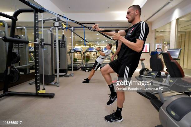 Juventus player Merih Demiral during a gym training session on July 23 2019 in Nanjing China