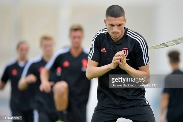 Juventus player Merih Demiral during a training session at JTC on August 26 2019 in Turin Italy