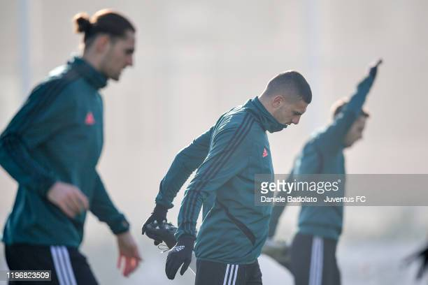 Juventus player Merih Demiral during a training session at JTC on December 31 2019 in Turin Italy