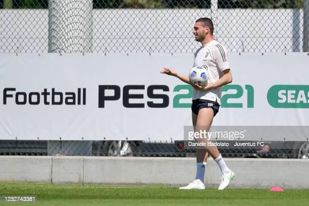 Juventus player Merih Demiral during a training session at JTC on May 07, 2021 in Turin, Italy.