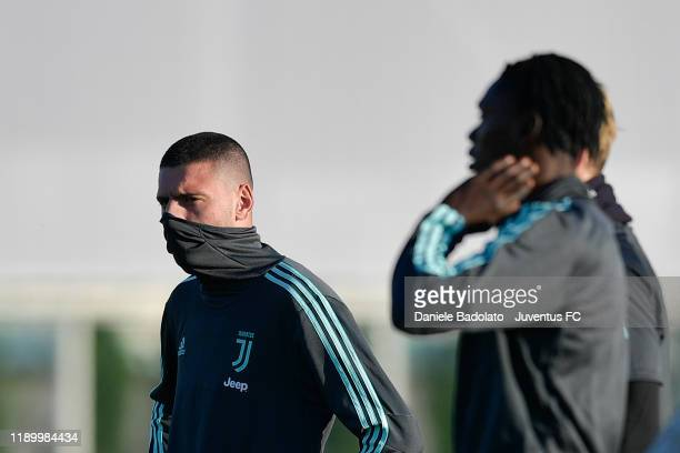 Juventus player Merih Demiral during the UEFA Champions League training session at JTC on November 25 2019 in Turin Italy