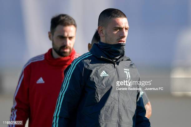 Juventus player Merih Demiral during the UEFA Champions League training session at JTC on December 10 2019 in Turin Italy