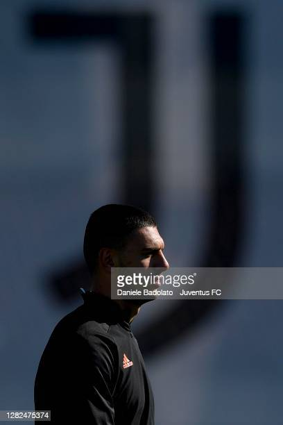 Juventus player Merih Demiral during the UEFA Champions League training session at JTC on October 27 2020 in Turin Italy