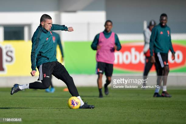Juventus player Merih Demiral kicks the ball during a training session at JTC on January 09, 2020 in Turin, Italy.