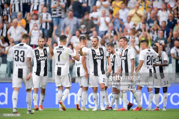 Juventus player Miralem Pjanic celebrates 10 goal during the serie A match between Juventus and SS Lazio on August 25 2018 in Turin Italy