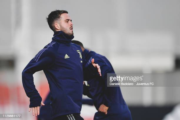Juventus player Miralem Pjanic during the Champions League training session at JTC on March 11 2019 in Turin Italy