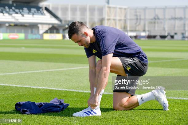 Juventus player Miralem Pjanic during the Champions League training session at JTC on April 09 2019 in Turin Italy