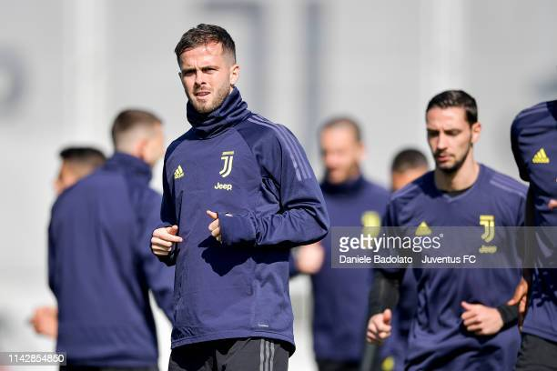 Juventus player Miralem Pjanic during the Champions League training session at JTC on April 15 2019 in Turin Italy