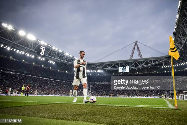 Juventus player Miralem Pjanic during the Serie A match between Juventus and AC Milan on April 6 2019 in Turin Italy