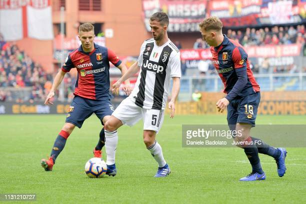 Juventus player Miralem Pjanic during the Serie A match between Genoa CFC and Juventus at Stadio Luigi Ferraris on March 17 2019 in Genoa Italy