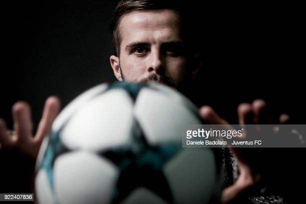Juventus player Miralem Pjanic poses for a portrait session on February 7 2018 in Turin Italy