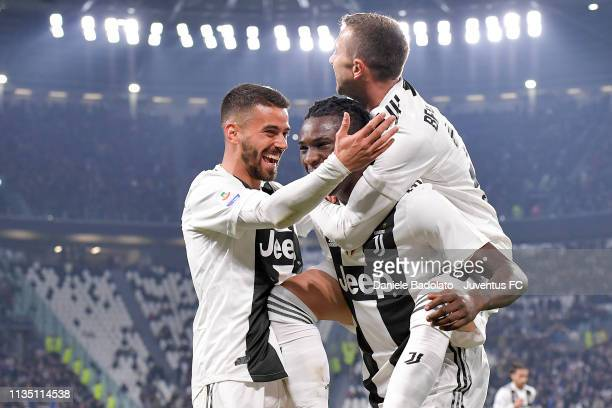 Juventus player Moise Kean celebrates 10 goal with Leonardo Spinazzola during the Serie A match between Juventus and Udinese at Allianz Stadium on...