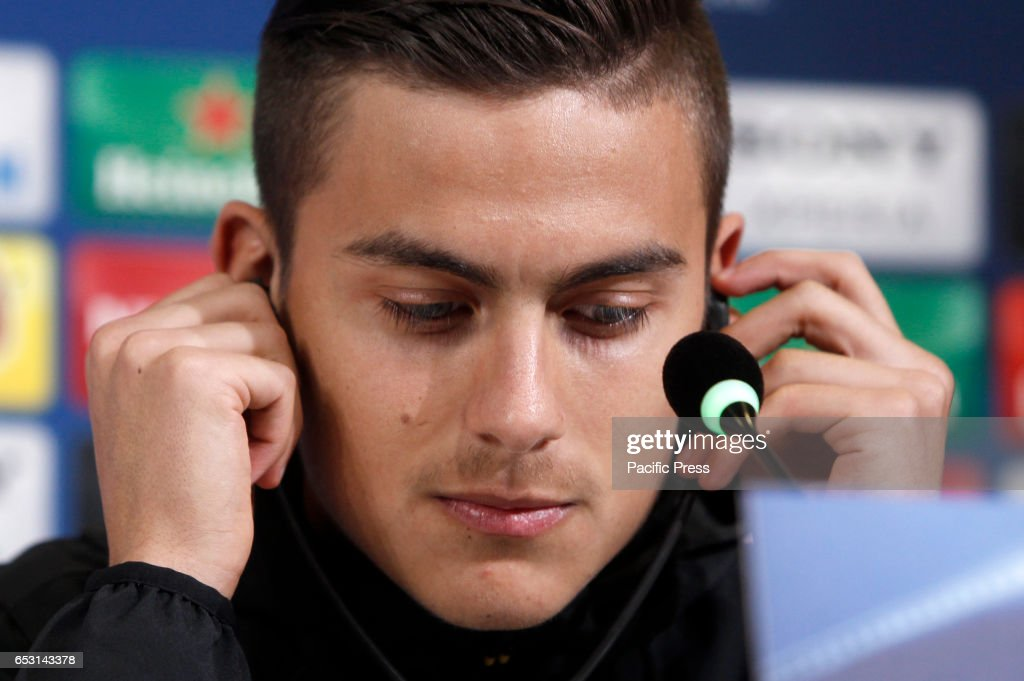 Juventus player Paulo Dybala attends a press conference ahead of the Champions League round of 16 second leg soccer match against Porto.
