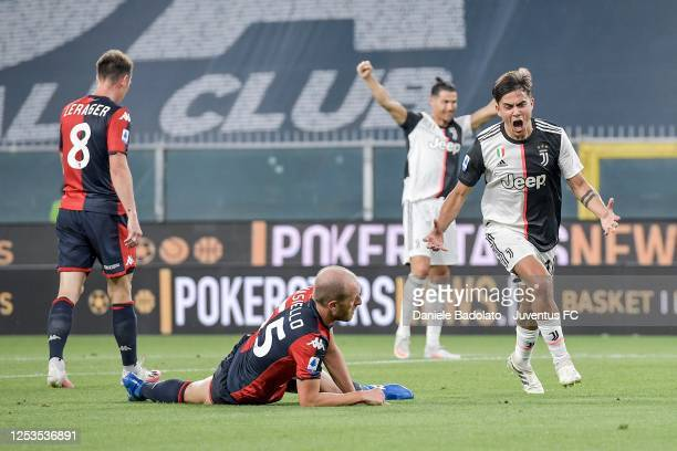Juventus player Paulo Dybala celebrates after scoring the 0-1 goal during the Serie A match between Genoa CFC and Juventus at Stadio Luigi Ferraris...