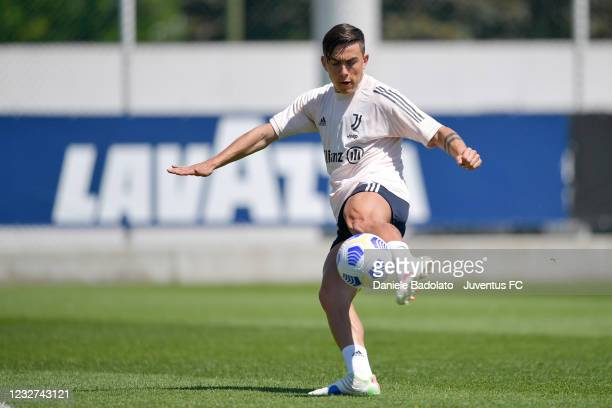 Juventus player Paulo Dybala during a training session at JTC on May 07, 2021 in Turin, Italy.