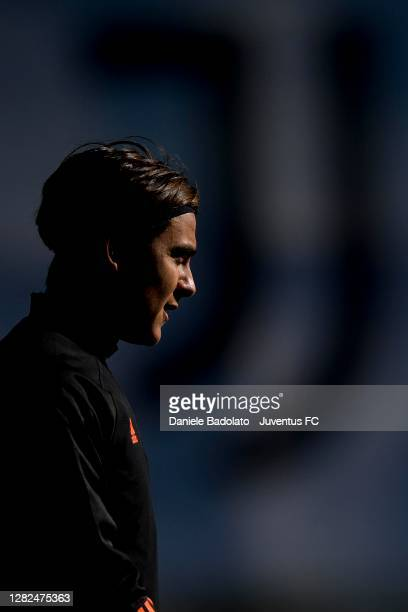 Juventus player Paulo Dybala during the UEFA Champions League training session at JTC on October 27 2020 in Turin Italy