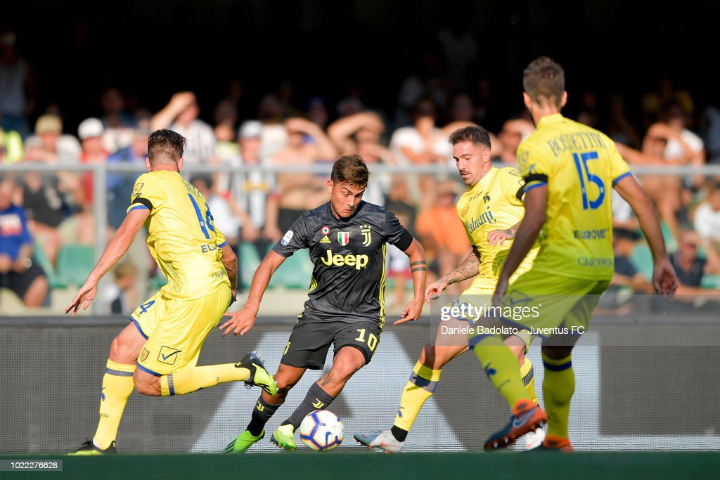 Juventus player Paulo Dybala in action during the serie A match between Chievo Verona and Juventus at Stadio Marc'Antonio Bentegodi on August 18, 2018 in Verona, Italy.