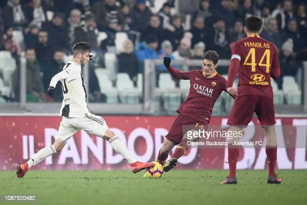 Juventus player Rodrigo Bentancur and Roma player Patrik Schick during the Serie A match between Juventus and AS Roma on December 22 2018 in Turin...