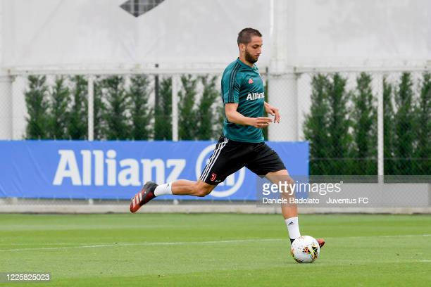 Juventus player Rodrigo Bentancur kicks the ball during a training session at JTC on May 19 2020 in Turin Italy