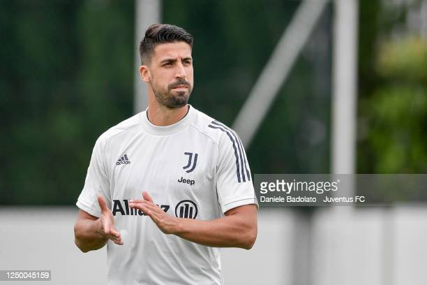 Juventus player Sami Khedira during a training session at JTC on June 16, 2020 in Turin, Italy.