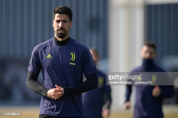 Juventus player Sami Khedira during the Champions League training session at JTC on February 19 2019 in Turin Italy