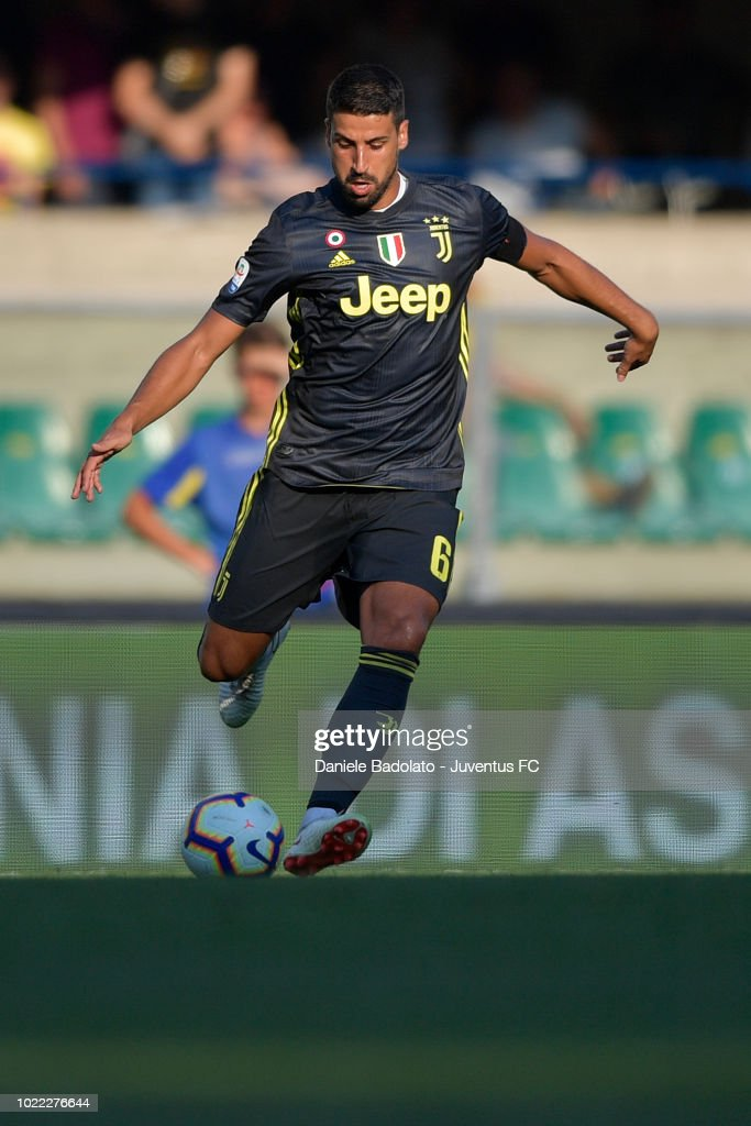 Juventus player Sami Khedira in action during the serie A match between Chievo Verona and Juventus at Stadio Marc'Antonio Bentegodi on August 18, 2018 in Verona, Italy.