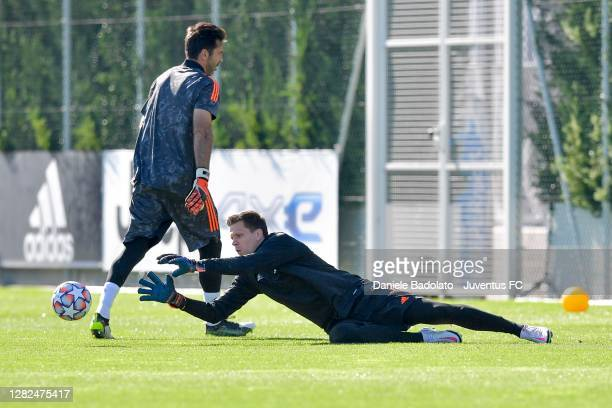 Juventus player Wojciech Szczesny during the UEFA Champions League training session at JTC on October 27 2020 in Turin Italy
