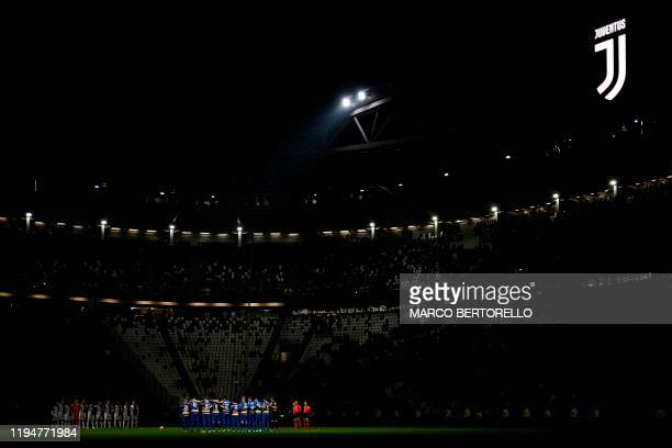 Juventus' players and Parma's players hold a minute of silence for former Italian footballer and Juventus player Pietro Anastasi, who died on January...