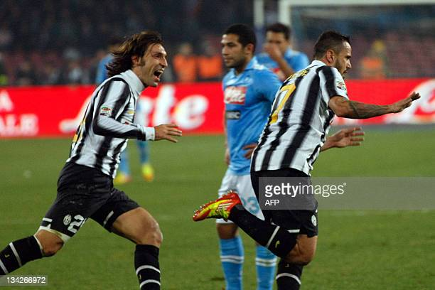 Juventus' players Andrea Pirlo and Simone Pepe celebrate their third goal during their Italian Serie A football match SSC NapoliFC Juventus in San...