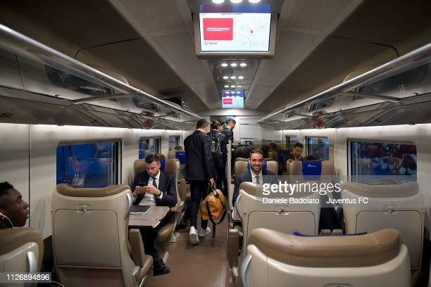 Juventus players as the Juventus team travel to Bologna ahead of the Serie A match between Bologna FC and Juventus at JTC on February 23 2019 in...