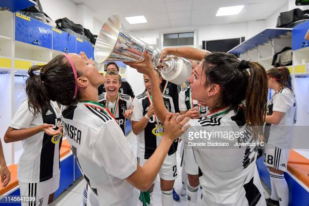 Juventus players Barbara Bonansea and Michela Franco celebrating in the dressing room after the Women Coppa Italia Final match between Juventus Women...