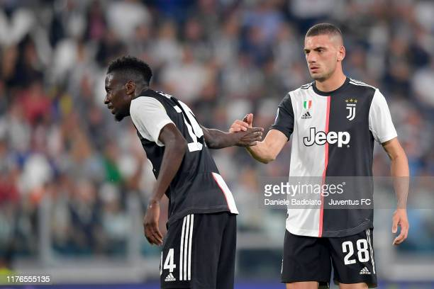 Juventus players Blaise Matuidi and Merih Demiral during the Serie A match between Juventus and Hellas Verona at Allianz Stadium on September 21 2019...