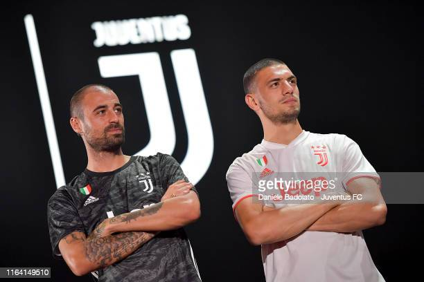 Juventus players Carlo Pinsoglio and Merih Demiral during the Adidas Event on July 25 2019 in Shanghai China