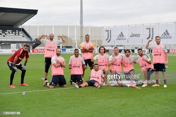 Juventus players Carlo Pinsoglio, Giorgio Chiellini, Gonzalo Higuain, Alex Sandro, Danilo, Marco Olivieri, Adrien Rabiot, Merih Demiral, Mattia De...