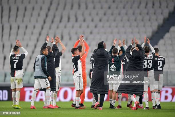 Juventus' players celebrate after winning during the Serie A match between Juventus and FC Internazionale at Allianz Stadium played behind closed...