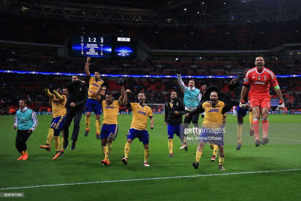 Juventus players celebrate during the UEFA Champions League Round of 16 Second Leg match between Tottenham Hotspur and Juventus at Wembley Stadium on March 7, 2018 in London, United Kingdom.