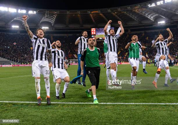 FC Juventus players celebrate the conquest of the 7th consecutive Scudetto the Italian Serie A football match between AS Roma and FC Juventus at the...