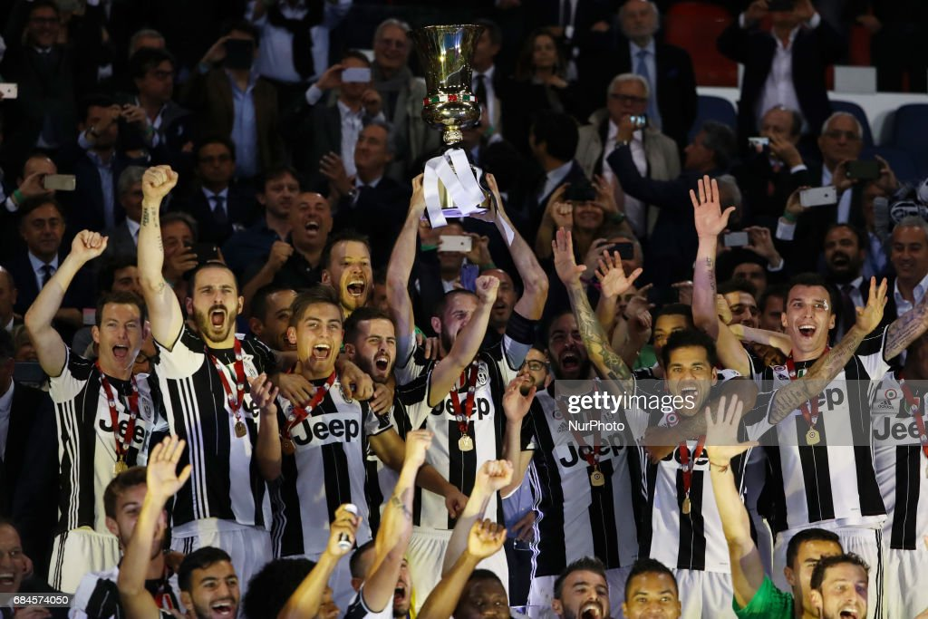 Juventus players celebrate the Coppa Italia victory after the final between Juventus FC and SS Lazio at the Olympic Stadium on May 17, 2017 in Rome, Italy. Juventus won 2-0 against Lazio.